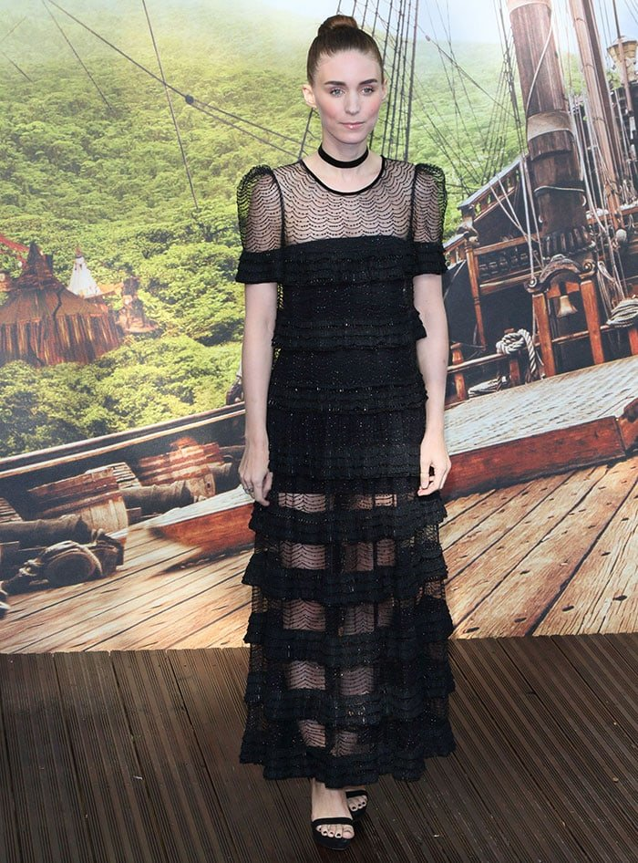 """Rooney Mara wears a black Givenchy dress to the premiere of """"Pan"""""""