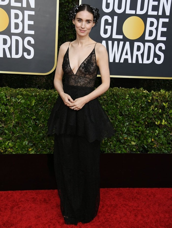 Rooney Mara, pictured at the 2020 Golden Globes, had her nipples pierced for her role as Lisbeth Salander in The Girl With the Dragon Tattoo