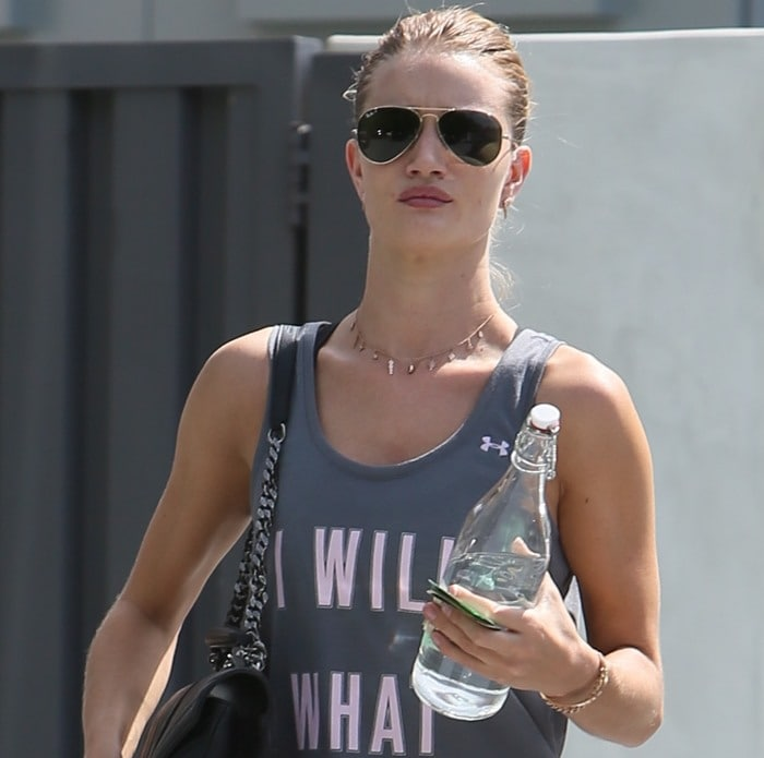 Rosie Huntington-Whiteley leaves a yoga class in Los Angeles