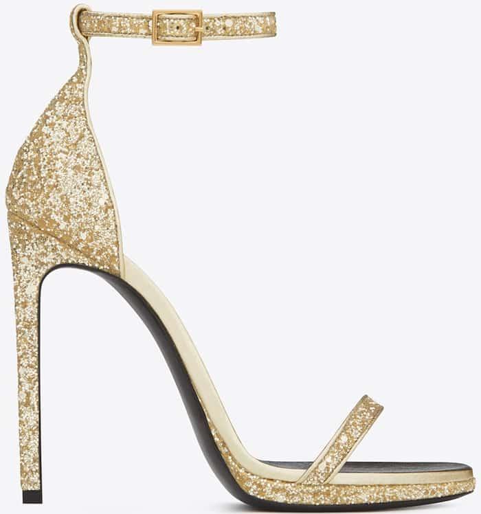 Saint Laurent Classic Jane 110 Ankle Strap Sandal in Gold Glitter Fabric