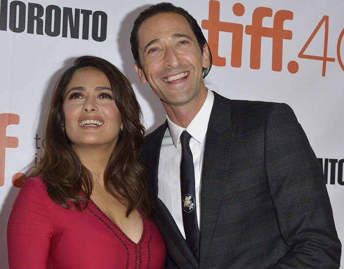 """Adrien Brody and Salma Hayek attend the premiere of """"Septembers of Shiraz"""" during the 2015 Toronto International Film Festival"""