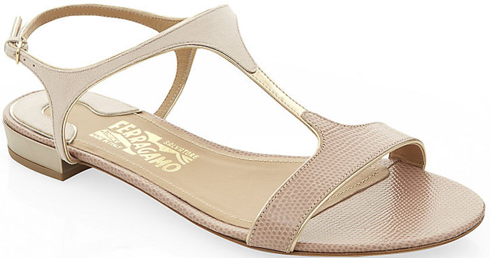 Salvatore Ferragamo Mix T Bar Sandals Beige