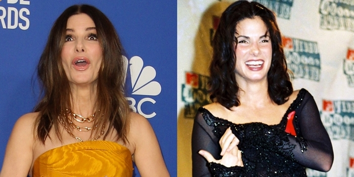 Sandra Bullock at the 2020 Golden Globe Awards and at the 1994 MTV Video Music Awards