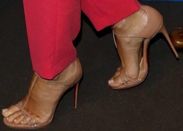 Sandra Bullock struts through the film festival in a pair of nude Christian Louboutin sandals