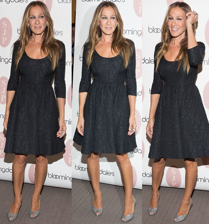 7e32be3b00bb Sarah Jessica Parker had her long blonde locks past her shoulders in loose  waves
