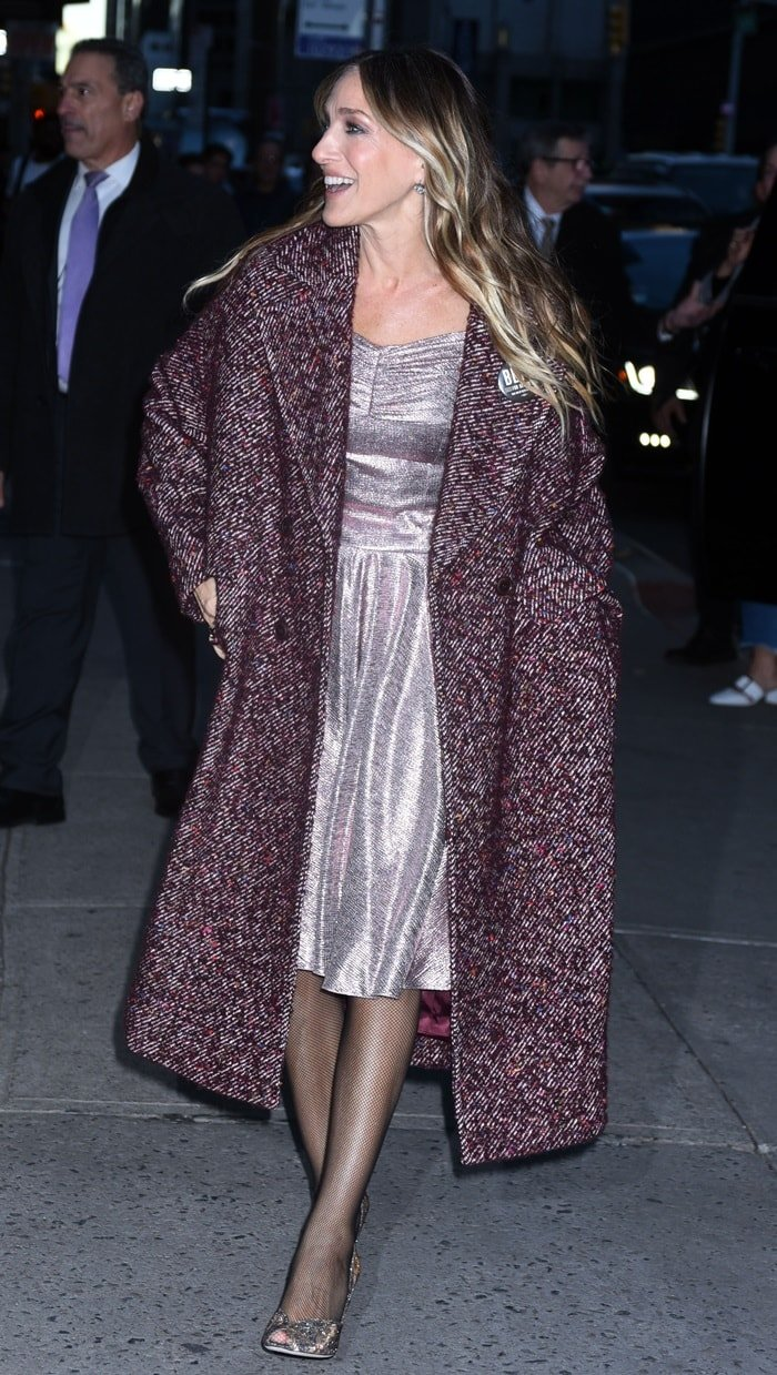 fcebe6044b1c Sarah Jessica Parker arriving in a pink dress from the Emilia Wickstead  Spring 2019 Collection for