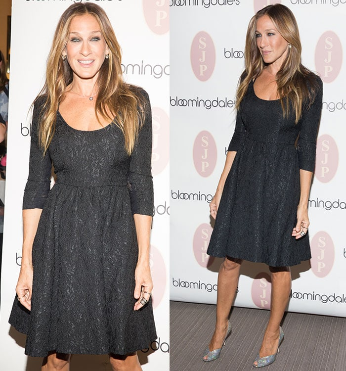dae0dbf81b74 ... simple but chic brocade LBD featuring three-quarter sleeves. Sarah  Jessica Parker flaunted her legs and styled her dress with minimal jewelry