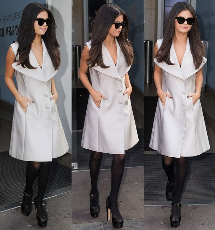 Selena Gomez keeps things neutral in a black-and-cream look