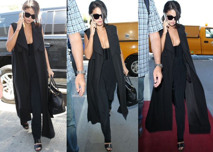 Selena Gomez chats on the phone as she strolls through LAX in a cleavage-baring all-black outfit