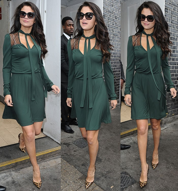 Selena-Gomez-green-long-sleeve-dress-leopard-pumps