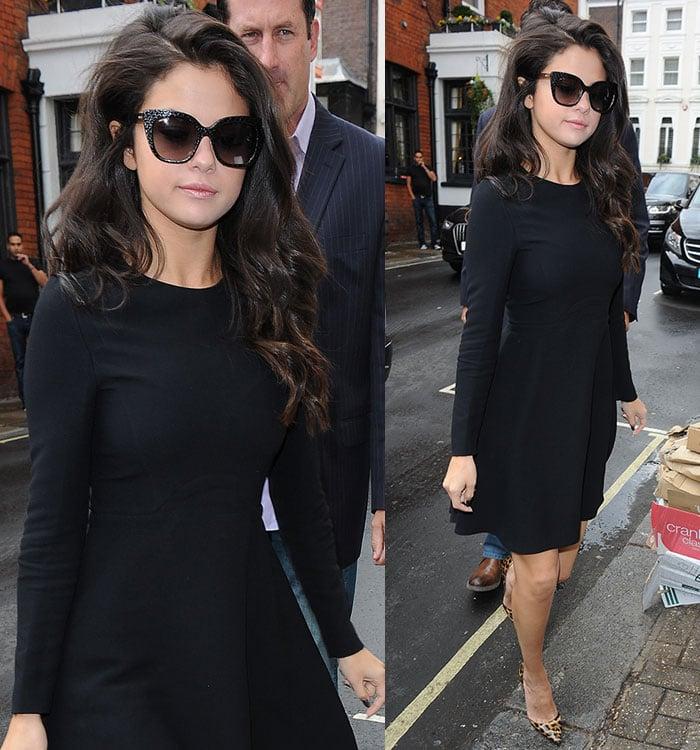 Selena-Gomez-long-sleeve-black-skater-dress