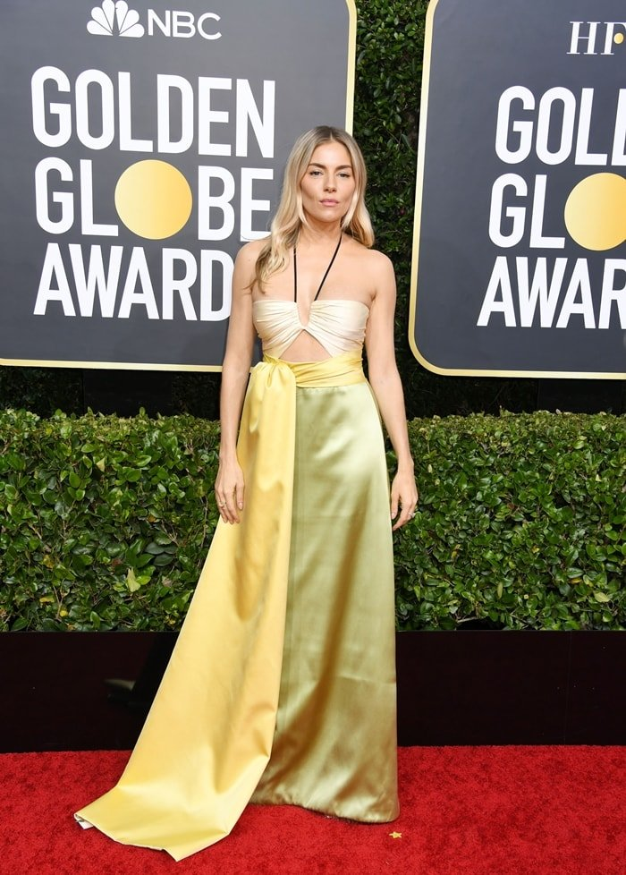 Sienna Miller wearing Gucci with Forevermark jewelry at the 2020 Golden Globe Awards