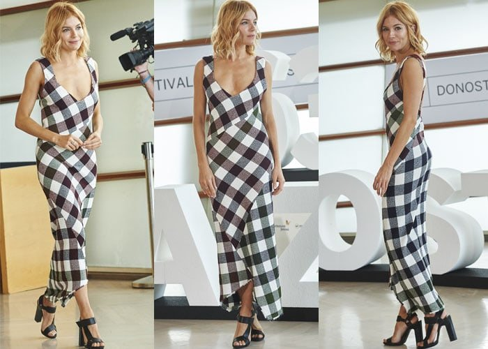 "Sienna Miller shows off a Victoria Beckham dress while promoting her upcoming movie ""High Rise"""