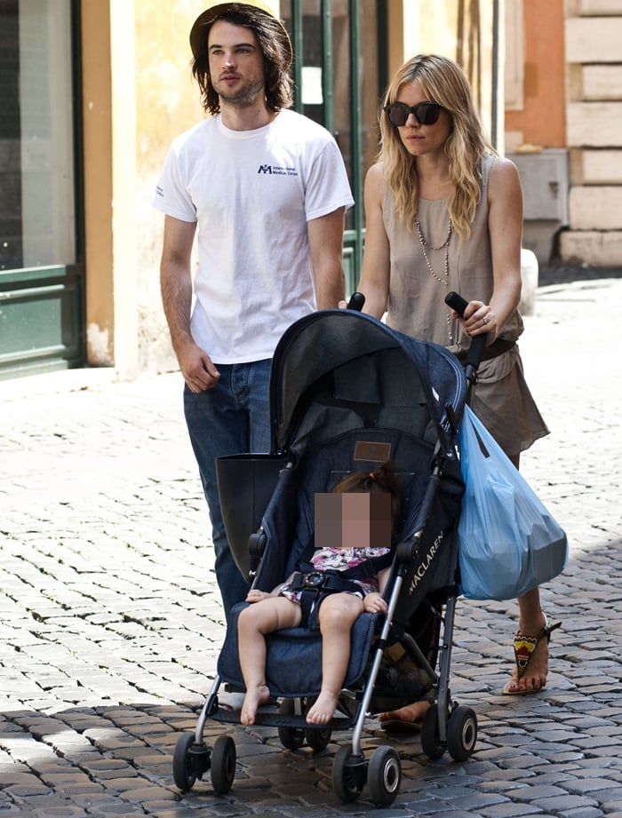Sienna Miller with her fiance Tom Sturridge and daughter Marlowe Ottoline Layng Sturridge