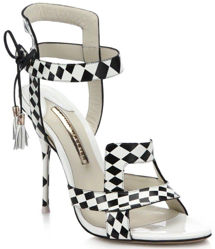 Sophia Webster Poppy Checker-Print Leather Sandals