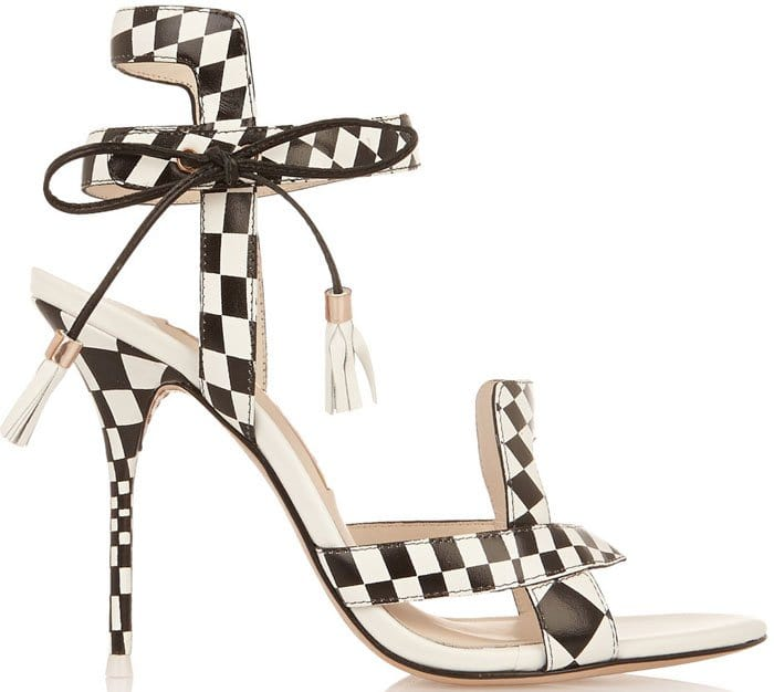 "Sophia Webster ""Poppy"" Checkered Leather Sandals"