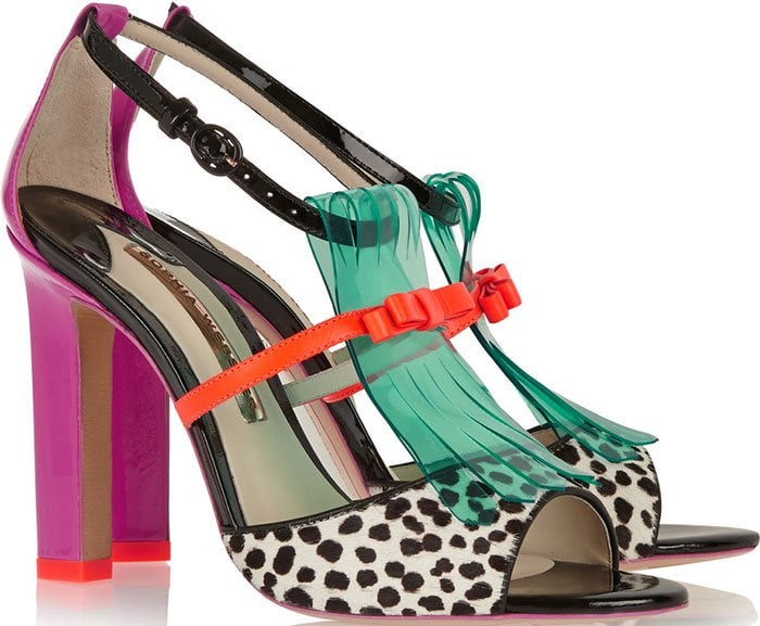 Sophia Webster Verity Patent-Leather, Polka-Dot Calf Hair and Vinyl Sandals