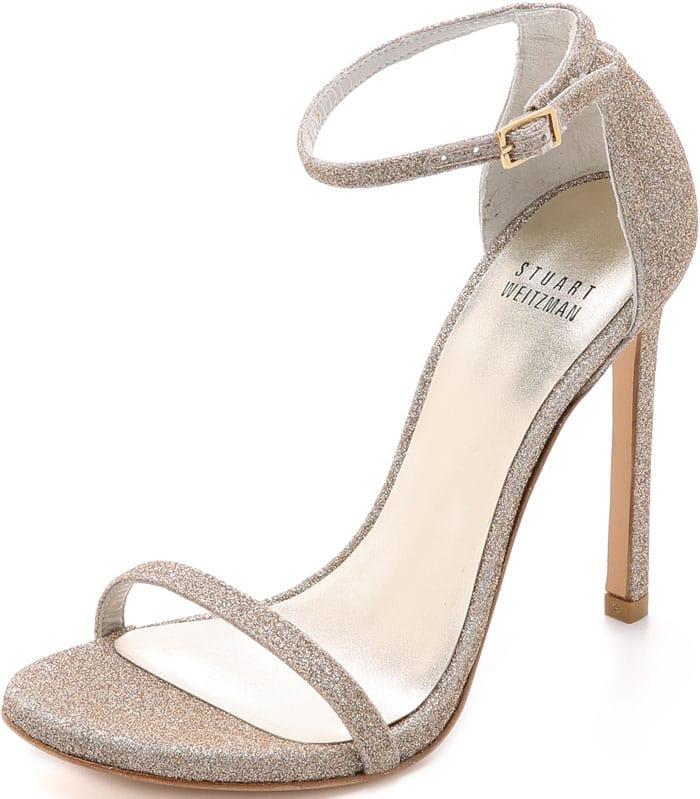 Stuart Weitzman Nudist Glitter Sandals