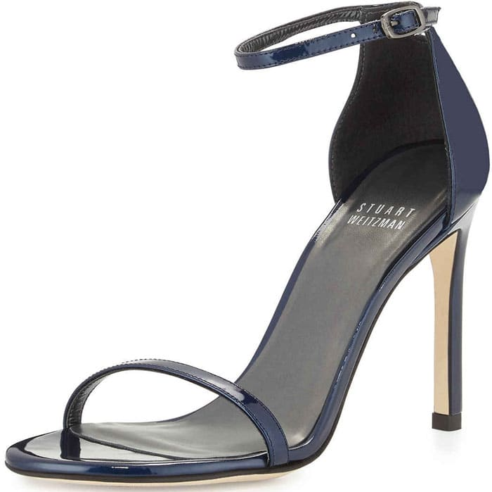 "Stuart Weitzman ""Nudistsong"" Patent Leather Sandal in Jet Blue"