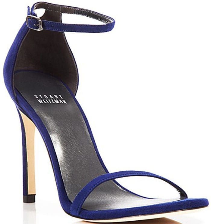 """Stuart Weitzman Ankle Strap Sandals in """"Nudistsong"""" in Sapphire"""