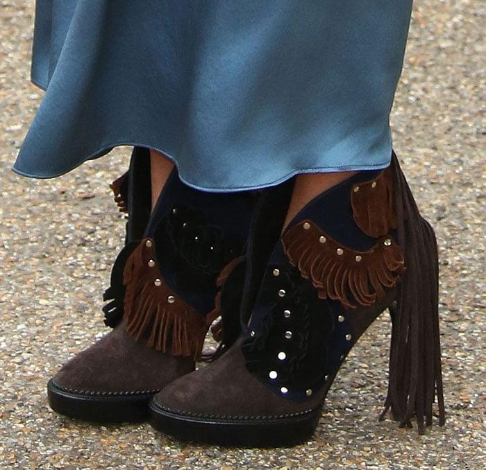 Suki Waterhouse wears Burberry fringe ankle boots