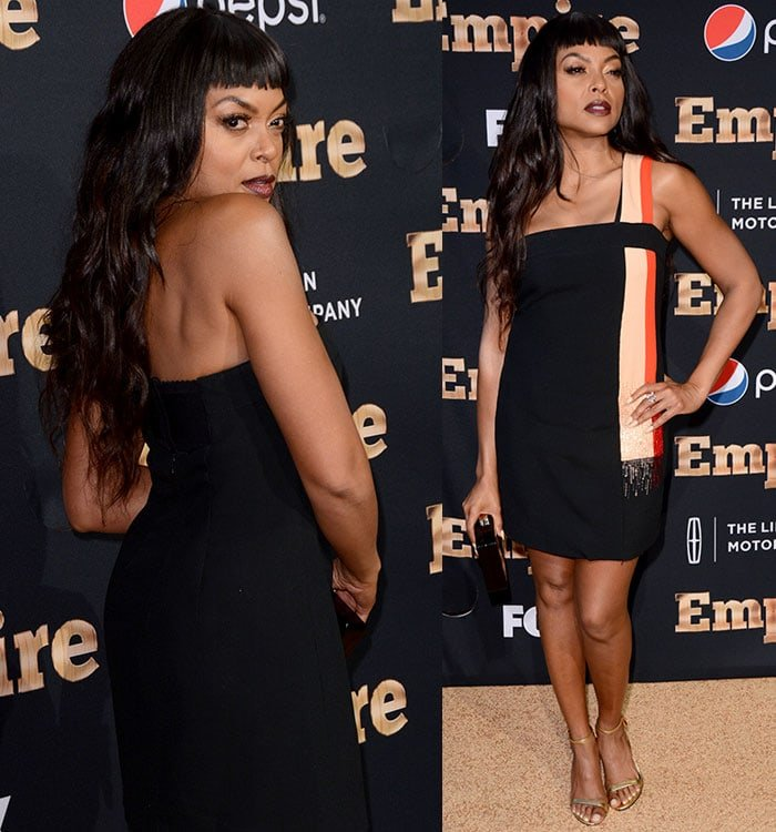 Taraji P. Henson's dress with a red-and-champagne striped panel detail on one side