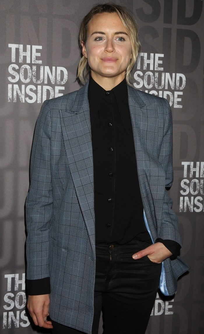 Taylor Schilling poses at the opening night of the new play The Sound Inside