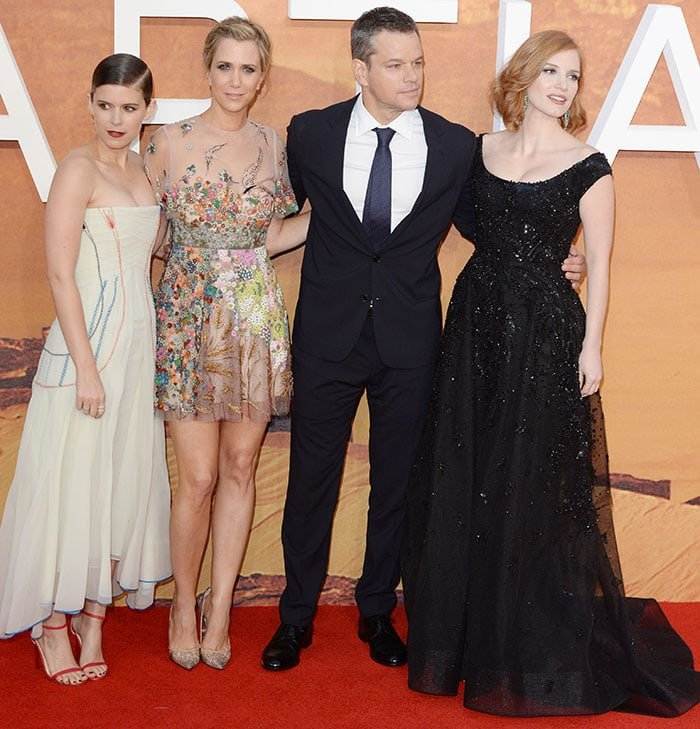 "Kate Mara, Kristen Wiig, Matt Damon and Jessica Chastain attend the European premiere of ""The Martian"""