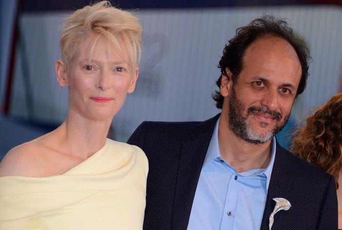 "Luca Guadagnino and Tilda Swinton attend the premiere of their new film ""A Bigger Splash"""