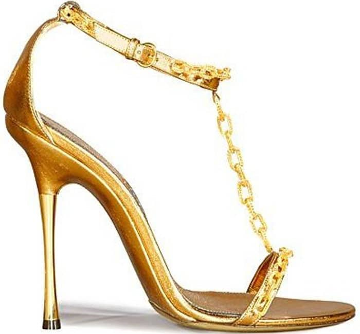 Tom Ford Gold Chain T-Strap Sandals