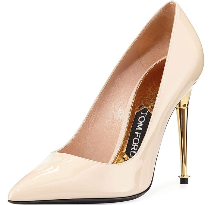 Nude Tom Ford Patent-Leather Pin-Heel Pumps