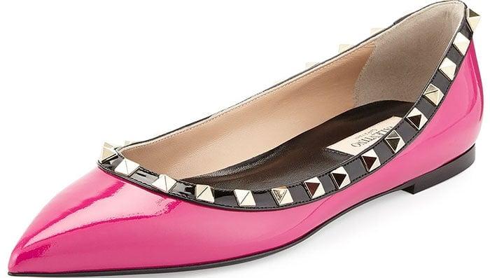 Valentino Rockstud Ballerina Flats Colorblock