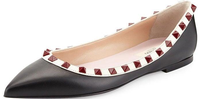 Valentino Rockstud Ballerina Flats Lacquered