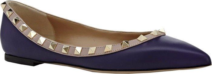 Valentino Rockstud Ballerina Flats Purple