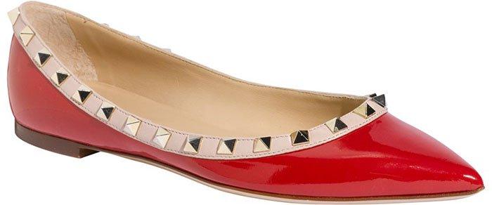 Valentino Rockstud Ballerina Flats Red