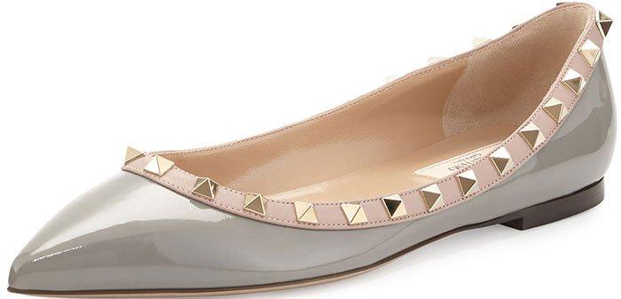 Valentino Rockstud Ballerina Flats Pebble