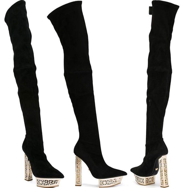 Versace Suede Over-the-Knee Platform Boots