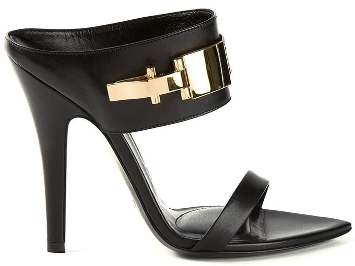 Versus x Anthony Vaccarello Leather Mules with Gold-Tone Hardware