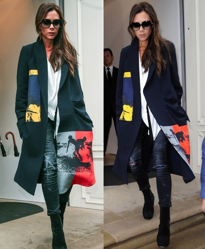Victoria Beckham shields her eyes behind a pair of oversized sunglasses as she exits her London storefront