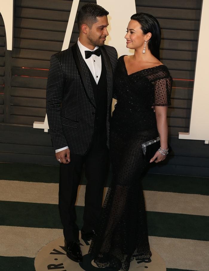 Demi Lovato and her boyfriend Wilmer Valderrama attend the 2016 Vanity Fair Oscar Party