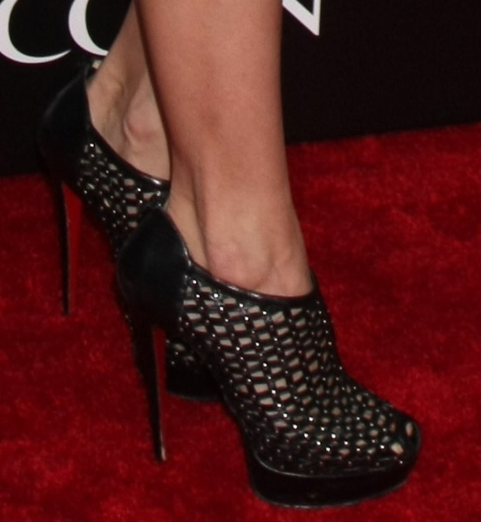 AnnaLynne McCord shows off her Christian Louboutin cage-style booties