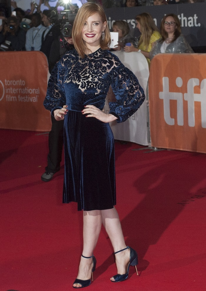 Jessica Chastain shows off a midnight blue Givenchy dress at the Toronto International Film Festival
