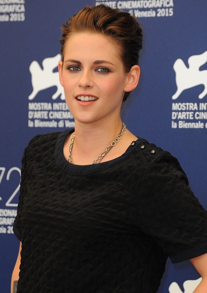 Kristen Stewart attended a photocall for Equals in a much more casual Chanel ensemble