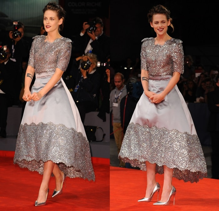 Kristen Stewart paired the show-stopping dress with a pair of metallic silver Christian Louboutin So Kate pumps and a dramatic dark lip