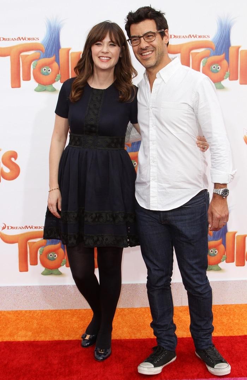 Actress Zooey Deschanel and her husband Jacob Pechenik