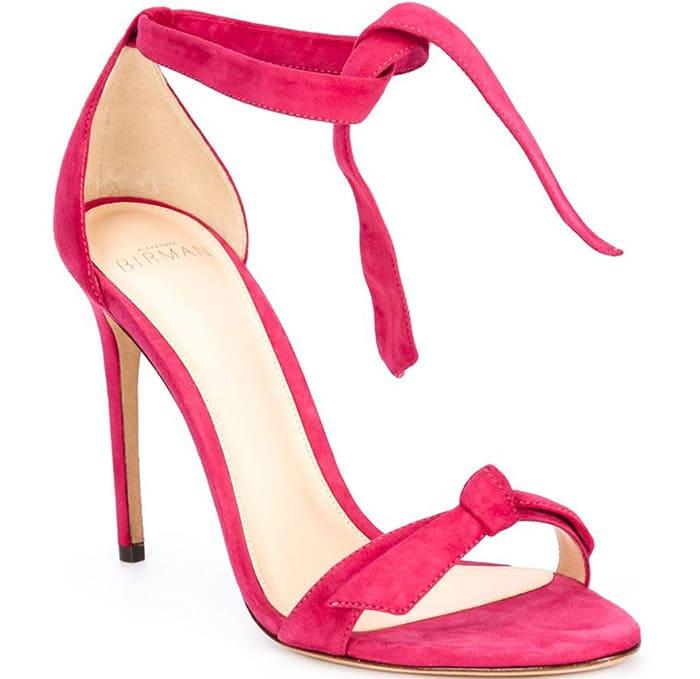 Alexandre Birman Clarita Suede Ankle-Tie Sandals Pink