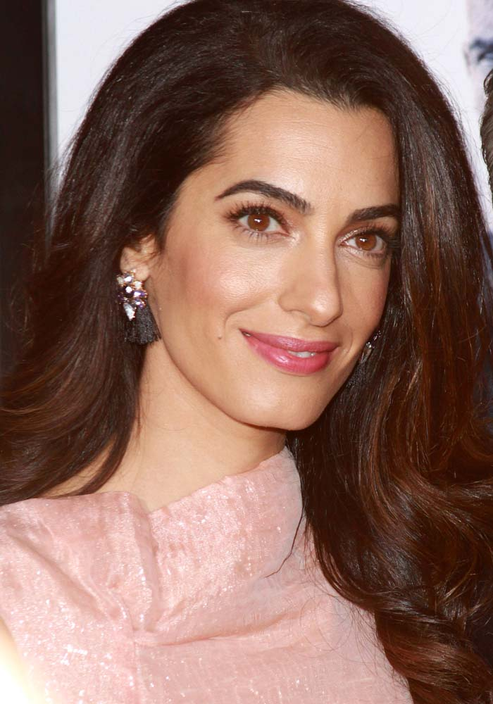 """Amal Clooney wears her dark hair down at the premiere of """"Our Brand is Crisis"""""""