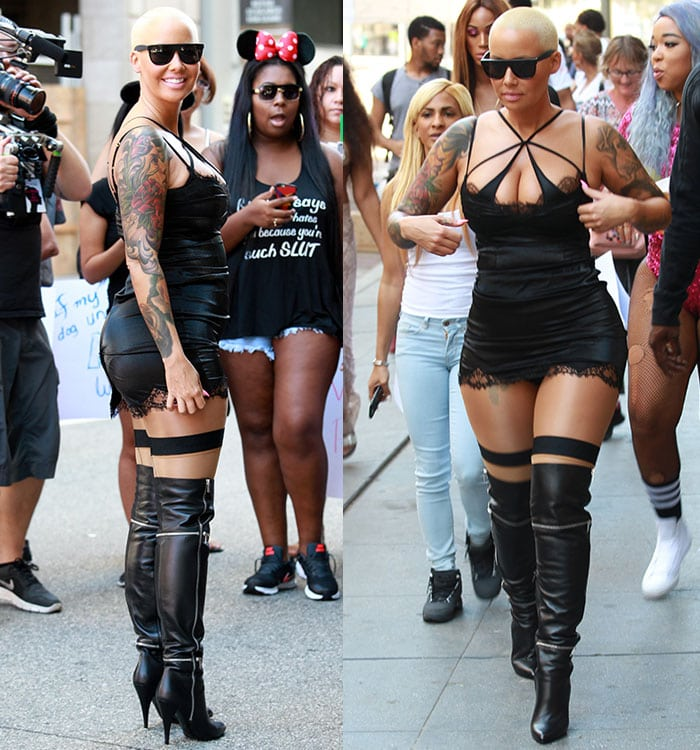 Amber Rose wearing a revealing outfit as she attends The Amber Rose SlutWalk in Los Angeles on October 3, 2015
