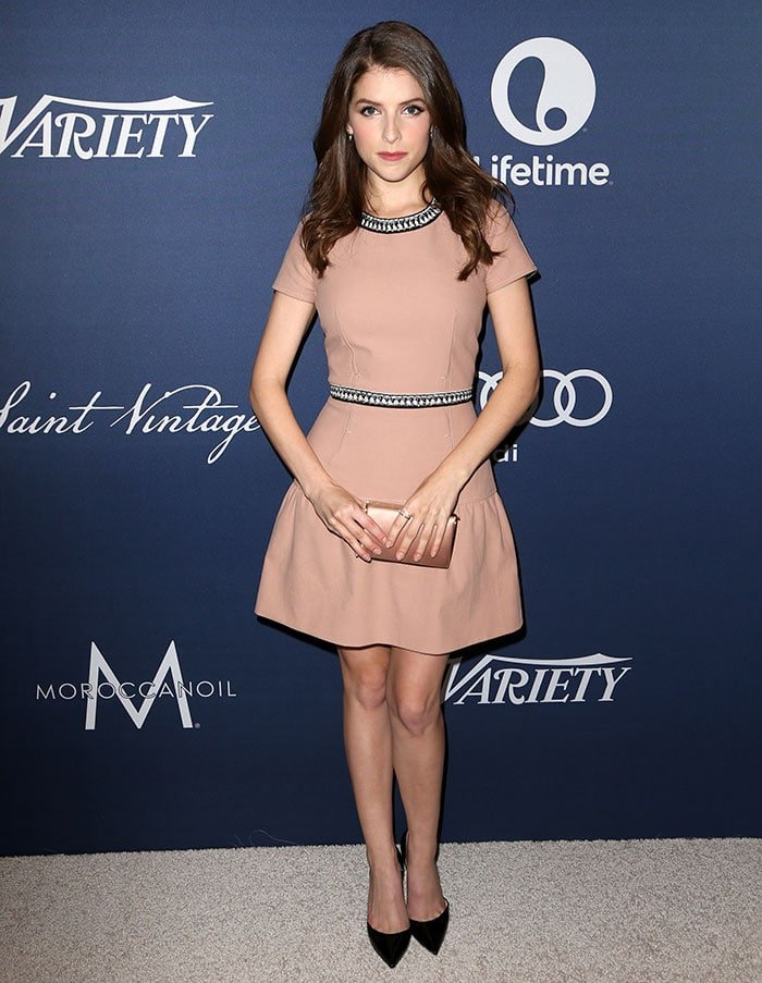 Anna Kendrick wears a nude embroidered Paule Ka minidress to a Variety luncheon