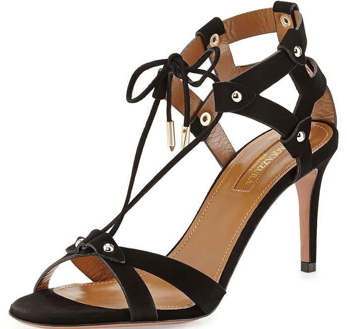 Aquazzura Bel Air Sandals Black Suede
